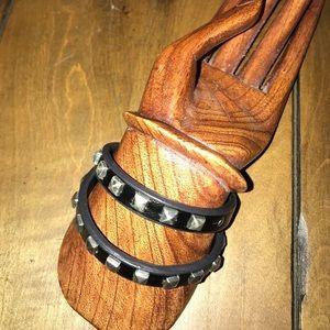 Jewelry - Black Leather Wrap Bracelet w/ Silver Studs